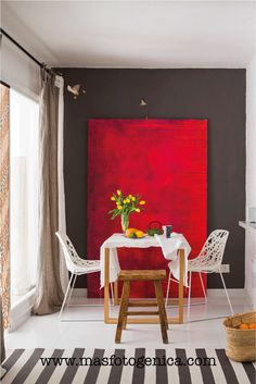 Nordic style home in Marbella that is open to the exterior : Nordic style home in Marbella that is open to the exterior Exterior Paint Colors, Exterior House Colors, Paint Colors For Home, Casual Dining Rooms, Power Colors, Red Walls, Red Interiors, Nordic Style, Decoration
