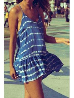 AdoreWe - Zaful Spaghetti Strap Stripes Racerback Sleeveless Dress - AdoreWe.com