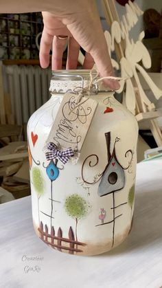 Glass Bottle Crafts, Diy Bottle, Bottle Art, Mason Jar Crafts, Mason Jar Diy, Creative Crafts, Diy And Crafts, Glass Painting Designs, Glass Painting Patterns