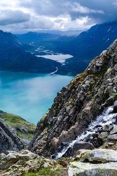 Norway, Jotunheimen. Hiking the famous Besseggen mountain ridge on the ...