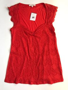 ELLA MOSS Orange Lace Front Sleeveless Top Size S NWT NEW #EllaMoss #KnitTop #Casual