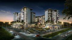 Panama Pacifico - rendering of the Mosaic buildings at night Panama, Buildings, Mosaic, Mansions, Lighting, Night, House Styles, Home, Panama Hat
