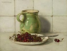Still Life with Cherries and a stoneware jug - Jan Bogaerts, 1937 Dutch 1878-1962 Oil on canvas, 35,3 x 45 cm.