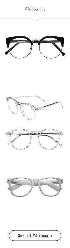 """Glasses"" by myfanficmanips ❤ liked on Polyvore featuring accessories, eyewear, glasses, sunglasses, clear glasses, retro glasses, retro clear glasses, clear lens glasses, half frame glasses and eyeglasses"