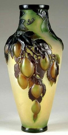 Galle Glass; Mold Blown, Vase, Green Plums. by PatriciaToledo