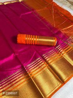 Heavy Tusser Silk Saree With Zari Pallu and Zari Border Tussar Silk Saree, Kanchipuram Saree, Cotton Saree, South Indian Sarees, South Indian Bride, Saree Design Patterns, Designer Silk Sarees, Stylish Sarees, Elegant Saree