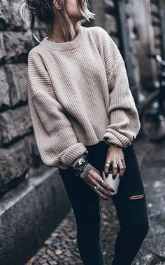 Chunky cable knits + rips