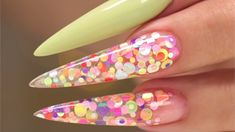 Suzie Moskal shows how to create an embedded confetti acrylic nail design. Bling Acrylic Nails, Stiletto Nail Art, Acrylic Gel, 3d Nails, Acrylic Nail Designs, Foil Nail Art, Foil Nails, Lime Nails, Gender Reveal Nails