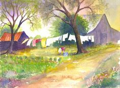 watercolor washing clothes | Morning Wash - Watercolor Painting and Limited Edition Prints