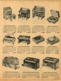 1953 Advert Arthur Godfrey Musical Toys: Schoenhut? Toy Pianos, Toy Pedal Organ, Magnus Electronic Toy Organs, and Phonograph record players.| eBay--bought 9/8/2015