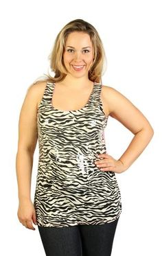 #plus zebra print front with clear sequins and a neon back tank $23.50