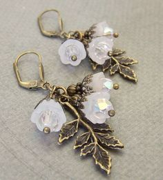 Lucite Flower charm Earrings  Bramble Bloom by whiteravendesignsau, $10.00