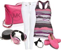 """Sporty Pink"" by emjayfashions ❤ liked on Polyvore"