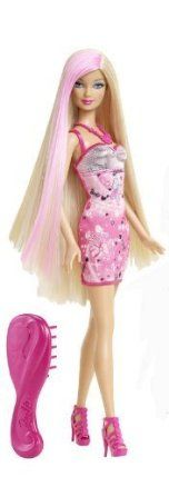Barbie Hairtastic Pink Dress Blonde Hair Doll by Mattel. $19.79. A must have in every girls Barbie collection. Its always a good hair day with Barbie. Doll has beautiful hair with glitter streaks. Features a fashionable outfit and stylish brush. Girls can style Barbie's hair with the latest style. From the Manufacturer                Barbie Hair-tastic. Doll Collection: The Barbie Hairtastic. Long Hair Doll Collection features three Barbie dolls with ultra-long hair in the ...