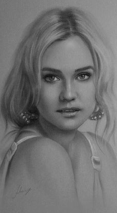 Diane kruger - Pencil Sketches by Krzysztof Lukasiewicz Portrait Sketches, Pencil Portrait, Realistic Pencil Drawings, Realistic Sketch, Charcoal Drawings, Drawn Art, Diane Kruger, Sun Art, Portraits