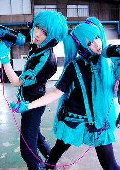 Hatsune Mikuo y Miku Vocaloid Cosplay, Mikuo, Best Waifu, Hatsune Miku, Harajuku, Punk, Anime, War, Style