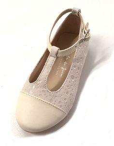 Manuela de Juan Ivory Spotted Suede T-Strap Mary Jane Shoes
