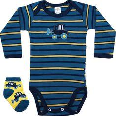 Body Bebê Menino Listrado com Meia Amarelo - Best Club :: 764 Kids | Roupa bebê e infantil