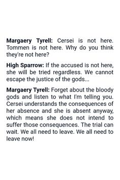 Quote from the TV show Game of Thrones (Produced by HBO) | Quote by Margaery Tyrell and High Sparrow | #GameofThrones #GoT #Quotes