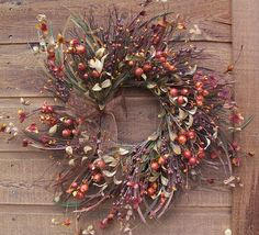 fall wreath of crab apples and berries Crab Apples, Apple Wreath, Fall Wreaths, Fall Decorating, Fall Crafts, Florals, Berries, Xmas, Child