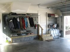 Garage Mudroom Design Ideas, Pictures, Remodel and Decor Garage Shoe Storage, Coat And Shoe Storage, Garage Organization Tips, Garage Storage Solutions, Garage Shelving, Garage Ideas, Wire Shelving, Garage Plans, Wall Storage