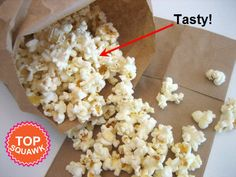 """How to Microwave Gourmet Popcorn in a Brown Paper Bag :: Homemade """"microwave"""" popcorn - you will never buy store-bought (with all those chemicals) again! Plus, make your own flavors! Gourmet Popcorn, Homemade Microwave Popcorn, Popcorn Recipes, Gourmet Recipes, Appetizer Recipes, Snack Recipes, Appetizers, Fast Recipes, Yummy Snacks"""