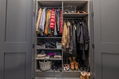 Entryway messiness is no match for Anthony Carrino's coat closet! Create your own. Anthony Carrino, Closet Storage Systems, Hallway Closet, Custom Closets, Mudroom, Hgtv, Home Renovation, Home Organization, Entrance