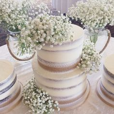 Engagement cake. Baby's breath cake (@sandrassweetcreations) on Instagram: ! #seminakedcake…""