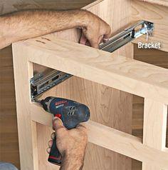 Drawer slides for frameless cabinet Building Kitchen Cabinets, Diy Kitchen Cabinets, Built In Cabinets, Diy Wood Projects, Furniture Projects, Diy Furniture, Building Drawers, Diy Cabinet Doors, Diy Drawers