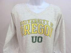Women's THE UNIVERSITY OF OREGON Ducks Sweatshirt Grey Yellow Hoodie Large 11/13 #ProEdge #Sweatshirt