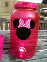 Minnie Mouse Party  Minnie Mouse beverage dispenser--cute idea