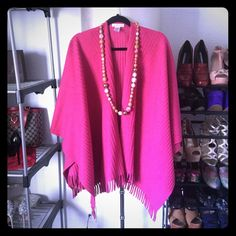 Warm Pink Poncho Very warm - very oversized. Fits large to XL. Coldwater Creek Sweaters Shrugs & Ponchos