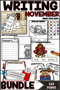 Writing Activities and Centers: November Bundle Stages Of Writing, Writing Lists, First Grade Writing, Writing Paper, Writing Prompts, Kindergarten Lesson Plans, Kindergarten Writing, Kindergarten Activities, Writing Activities