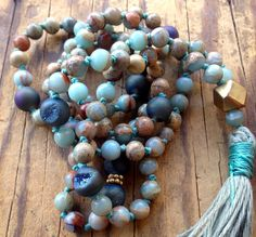 African Opal Mala Necklace Peruvian Blue Druzy 108 Mala Beads  Positivity  Strength Good Luck  Prosperity October Birthstone