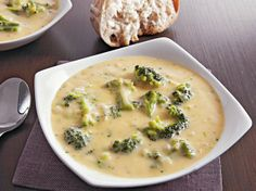 Treat your family to a cheesy dinner with this slow cooked broccoli soup that's made using Progresso® chicken broth.