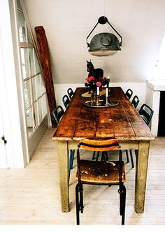 rustic table, industrial light fixture