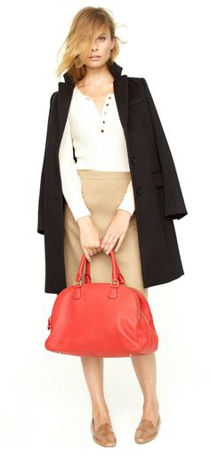 j.crew plaza coat, thermal henley, sterling skirt, biennial satchel & darby patent loafers.