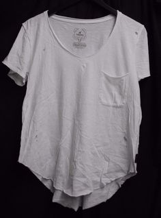 IR TRUNK LTD T-shirt Solid White Vneck Front Pocket Distressed Holes Loose *M  #TRUNKLTD #GraphicTee