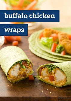 Buffalo Chicken Wraps – A creamy combination of mayo and hot pepper sauce is rolled up with chicken, lettuce and tomatoes to make these easy Buffalo Chicken Wraps.