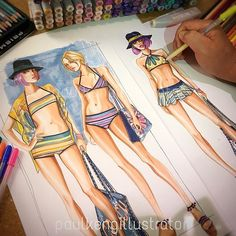 Fashion Design & Illustration by Paul Keng Fashion Figure Templates, Eye Illustration, Fashion Silhouette, Retro Lingerie, Figure Sketching, Fashion Figures, Fashion Sketchbook, Fashion Design Sketches, Process Art