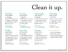Weekly Chores List...This is a good one for a small home and busy ...