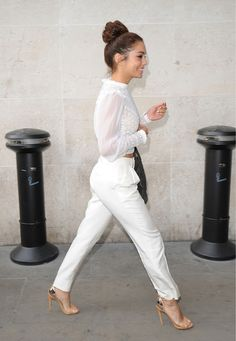 All White attire and nude shoe. Love the Victorian style blouse.