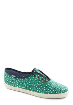 It's Been a Boll Sneaker by Keds - Green, White, Casual, Blue, Print