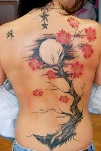 Cherry blossom tattoo on the back with the full moon in the background. The cherry blossom tree is seen to be standing high with the flowers blooming out of its branches as everything is framed by the midnight sky and the bright full moon.