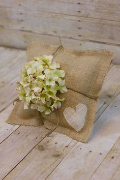 Large Burlap Ring Pillow With Heart and Hydrangea by sweetcs, $30.00
