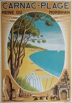 Original+vintage+poster+Carnac+Plage+Reine+du+Morbihan+-+Daniel+DERVEAUX