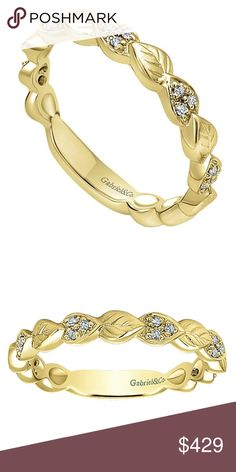 14KT Yellow gold Stackable ring. 14k Yellow Gold Ladies' diamond Stackable Ring with a sizing bar. GabrielNY Jewelry Rings