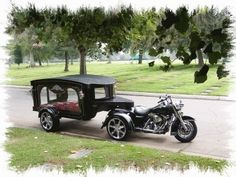 Motorcycle hearse.Many of my friends have taken there last ride in this. www.batsbirdsyard.com = bat Houses