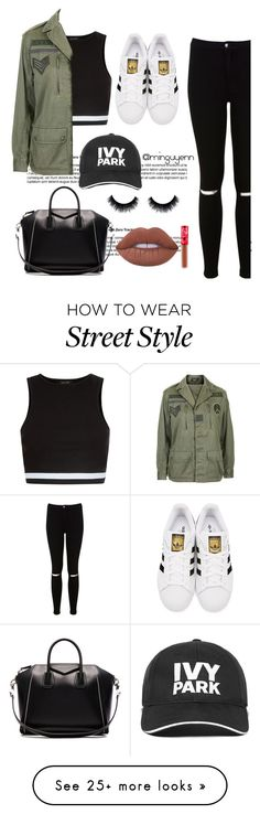 Street style by minguyenn on Polyvore featuring New Look, Topshop, Miss Selfridge, adidas Originals, Givenchy, Ivy Park and Lime Crime