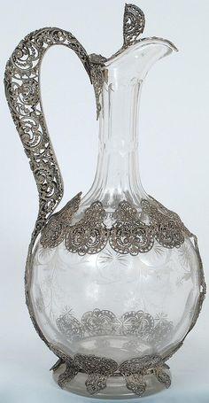 Dutch, Continental silver filigree overlaid glass jug, 19th century